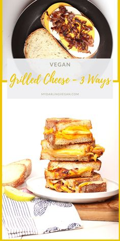 Get ready for back to school with these 3 vegan grilled cheese sandwich recipes. Delicious gourmet sandwiches to delight the whole family. Made in minutes! Vegan Sandwich Recipes, Grill Cheese Sandwich Recipes, Gourmet Sandwiches, Vegan Dinner Recipes, Delicious Vegan Recipes, Gourmet Recipes, Grilled Ham And Cheese, Grilled Cheese Recipes, Vegan Tomato Soup