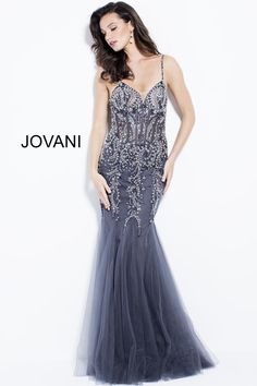 0913db2f11c3 Jovani 53172 is a spaghetti strap mermaid gown with a sheer beaded bodice.