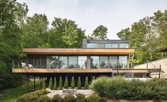 One of the thrills of following Canadian architecture is witnessing how the most radical designs play out on the least hospitable terrain. A case in point is the Estrade residence, cantilevered over a rocky ridge that plunges into a lake 90 minutes fro...