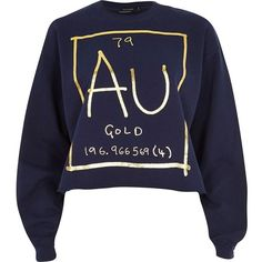 River Island Navy gold element print sweatshirt ($18) ❤ liked on Polyvore featuring tops, hoodies, sweatshirts, shirts, sweaters, sale, gold shirt, navy blue sweatshirt, print shirts and gold crop top