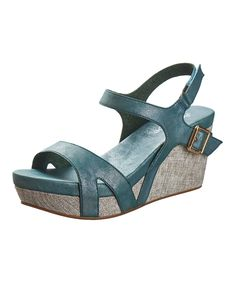 Another great find on #zulily! River Buckle Leather Slingback Wedge by Antelope #zulilyfinds