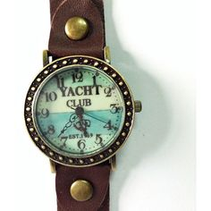 Yacht Club, Sailing, Nautical, Retro Leather Watch, Mens Watch, Women... ($13) ❤ liked on Polyvore featuring accessories and watches