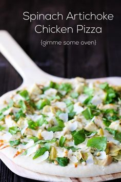 SPINACH ARTICHOKE CHICKEN PIZZA http://www.gimmesomeoven.com/spinach-artichoke-chicken-pizza/  ⇨ Follow City Girl at link https://www.pinterest.com/citygirlpideas/ for great pins and recipes!  ☕