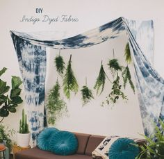 Add a touch of hippy-luxe to your wedding alter with this DIY tye-dye indigo canopy..  It's a bonus that it can find a place in your home after the big day, to serve as a reminder of your wedding! From Green Wedding Shoes Blog