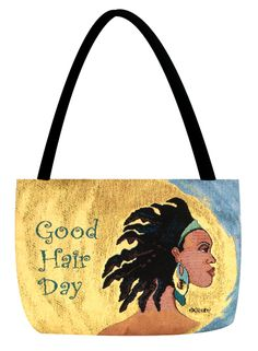 This is the Good Hair Day Tapestry Tote Bag by Gbaby Designs.  Gbaby Designs is the mother/daughter team of Sylvia Cohen-Rundles and Giovonnie Samuels.  Sylvia is an innovative artist whose unique handbags, portraying women of color, are sought after by women across the country.