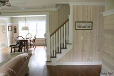 like this for our bedroom or pine living room walls with white trim. White washed planking with white trim Wonder if this technique will work over knotty pine cottage paneling? Knotty Pine Decor, Knotty Pine Paneling, Knotty Pine Walls, White Washed Wood Paneling, White Washed Pine, White Wood, Dark Wood, Painting Wood Paneling, Paneling Walls