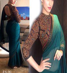 Green embroidered satin saree with blouse - Sareez House - 438842 Satin Saree, Latest Sarees, Designer Wear, Green Colors, Sari, Brand New, Blouse, How To Wear, Collection