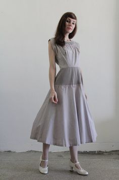 Vintage 1940s Dress . Dove Grey . Pleated . Cocktail Gown . High Fashion. $95.00, via Etsy.