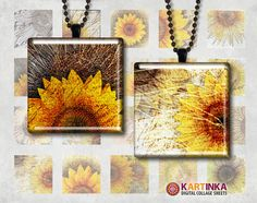 SUNFLOWERS  1x1 inch   Digital Collage Sheet  by KARTINKAshop, $3.50