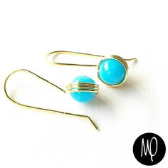 Zarcillos - Jade azul - Baño de oro