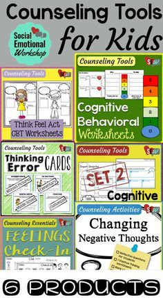 Over 100 pages of activities to help kids problem solve, understand their thoughts and emotions, and how that impacts their behavior. Perfect set for a school counselor or psychologist working in elementary schools. Elementary School Counselor, School Counseling, Elementary Schools, Group Counseling, Counselor Office, Counseling Activities, Therapy Activities, Cbt Therapy, Play Therapy