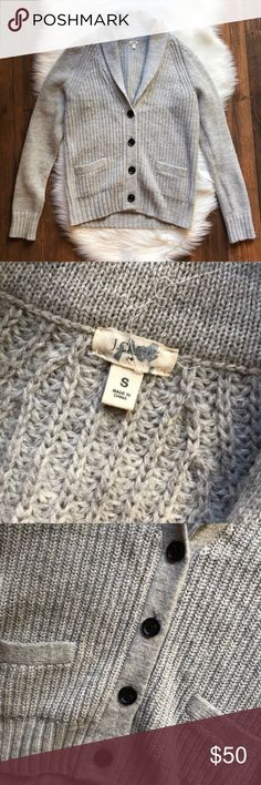 J. Crew Wool Blend Gray Cardigan Size small gray button up cardigan sweater by J Crew. Pockets on the front. Fold over collar. Gently used, no flaws. Wool blend. I store items in a smoke free, pet free environment and I ship every day except Sundays/holidays. Open to offers; bundles discounted. No trades. J. Crew Sweaters Cardigans