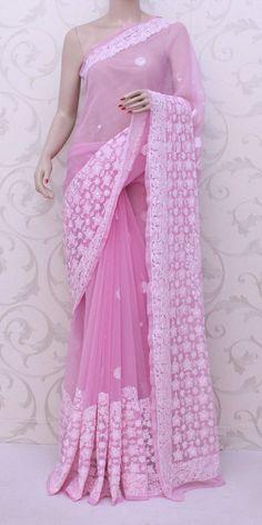 Lucknowi Chikan Saree (W/B-Georgette) 12845