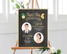 Custom Illustrated Printable Wedding Bar Menu Sign, Watercolor Chalkboard, Signature Cocktail, His and Hers Portrait (digital file only)