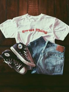 Sweet Thing Tee Available in white with red lettering Sizes S, M, L 50% Polyester/ 50% Cotton Made and printed in small batches in the USA