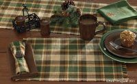 """Park Designs """"Scotch Pine"""" Rustic Country Lodge 36"""" Table Runner by Primitive Home Decors. $11.95. 100% Cotton Fabric. Lovely plaid cabin decor 36"""" table runner in earthy colors of evergreen and browns. The Scotch Pine Ribbed Table Runner is easy care in 100% cotton and is machine washable. It is complimented beautifully by the"""