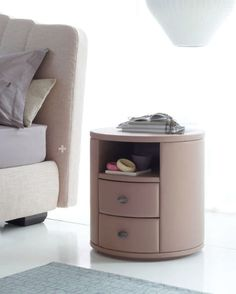 """Condotti"" Round Leather Side Table. Design by Opera Design. Various colors available."