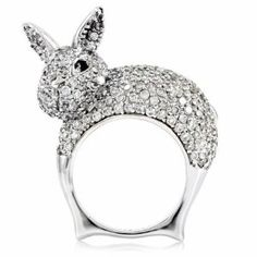 Pat's Bunny Cocktail Ring - Easter Bunny Jewelry