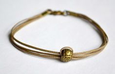 Cord bracelet for men  men's bracelet with a bronze by Principles, $10.00