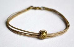 Cord bracelet for men  men's bracelet with a bronze by Principles, $10.00