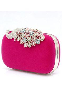 Fuchsia Boutique Fashion Clutch Evening Handbags Peacock #03316 USD 59.99 EPPGCZ26H1 - ElleProm.com