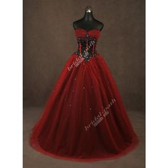 GOTHIC CUSTOM GORGEOUS RED & BLACK CORSET WEDDING DRESS BRIDAL GOWN... ❤ liked on Polyvore featuring dresses and wedding dresses