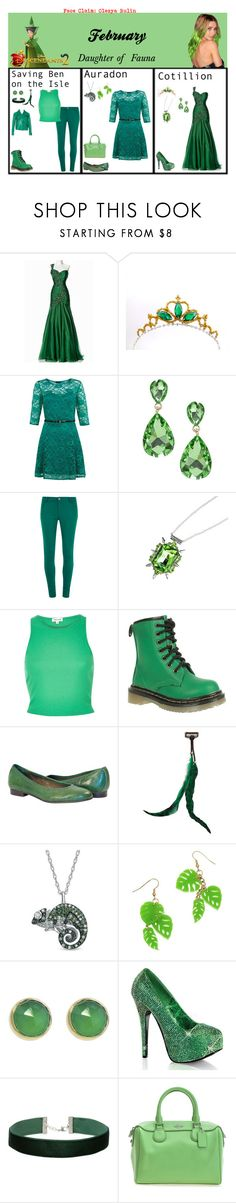 """""""February. Daughter of Fauna. Descendants 2"""" by elmoakepoke ❤ liked on Polyvore featuring Disney, Dorothy Perkins, Once Upon a Time, River Island, Spot On, THREE GREEN HEARTS, Jamie Joseph, Bordello, Miss Selfridge and Kenzo"""