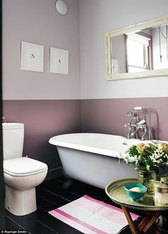 In the bathroom, Annabel created a two-tone paint effect on the walls with Calluna above and Brassica below, both by Farrow & Ball (farrow-ball.com). The WC is by Duravit (duravit.co.uk). The bowl and tray are from Morocco; find similar at Not On The High Street (notonthehighstreet.com)