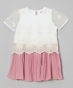 Another great find on #zulily! Pink & White Lace Dress - Toddler & Girls by Miso #zulilyfinds