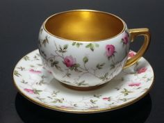 Coalport England Bone China Demitassi Cup & Saucer Rose & Gold Pattern…