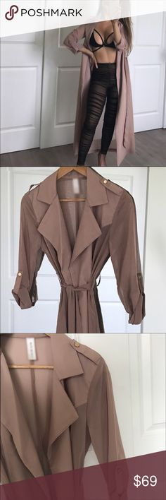🔁Nude Beverly Trench Duster Coat! 👍❤️🔥🎉 A beautiful nude sheer duster for the fall season!elegant 😍 and stylish! It's a reposh from the gorgeous @theroom closet! I love it but I'm just too short for it! I tried on and washed the coat once but never really wear it out! Pretty much brand new condition ! 🎉🔥❤️😊 small but will fit from a XS, S or M! 🌌🌧 ! I bought it at $75 price tag but will consider a reasonable offer ! 🙋🏻 Jackets & Coats Trench Coats