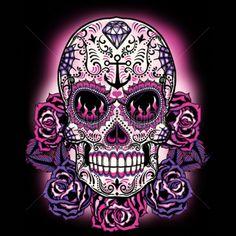 Pink Sugar Skull WOMANS Short Sleeve T Shirt Day of the Dead Sugar Skull 17934