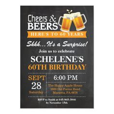 Cheers and Beers Birthday Invitation Card - invitations custom unique diy personalize occasions Orange Birthday Parties, Birthday Cheers, 60th Birthday Party, Surprise Birthday, Birthday Gifts, Card Birthday, Birthday Ideas, Birthday Celebration, Men Birthday
