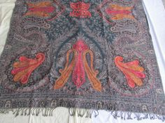 BOILED WOOL SHAWL PAISLEY HAND EMBROIDERY DESIGN JAMAWAR CASHMERE THROW BED 3996