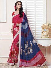Pink, Red & Blue Color Linen Bhagalpuri Party Wear Sarees : Nayantara Collection YF-32005
