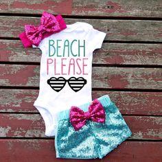 Beach Please Summer Bodysuit, Summer, Flip Flops, Beach, Sunset, Swim, Ocean, Sand, Sunglasses, Baby Girl, Girls, Newborn, New Baby, Hot