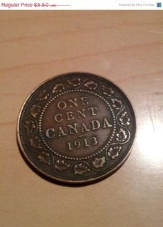 Canadian Large Cent AU plus 1919 by DrewsCollectibles on Etsy, $4.95 #copper #coins #largecent