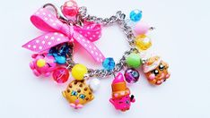 Shopkins inspired charm bracelet (shopkins lippy lips, pink bubble gum, cookie shopkin, cupcake shopkin, popular shopkins) shopkins charms