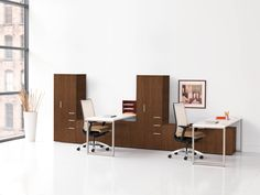Voi Desking now comes in veneer! Learn more at our office furniture solutions including chairs, desks, workstations, filing and tables on hon.com #office #interiordesign