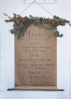 A DIY wedding menu wall hanging and book review of Decorate for a Party