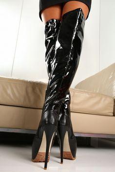 38 39 STIVALI SEXY NERO VERNICE TACCO GIARO FETISH BLACK PATENT BOOTS high HEELS | eBay