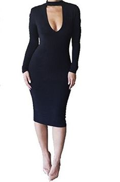 7ff678a665 ALAIX Women's Keyhole Open-Chest Bodycon Long Sleeve Warm Pencil Party  Evening Dress Black-M