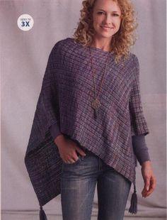 Poncho Knitting Patterns, Shawl Patterns, Knitted Poncho, Knitted Shawls, Free Knitting, Crochet Patterns, Creative Knitting, Wrap Pattern, Knitting Accessories