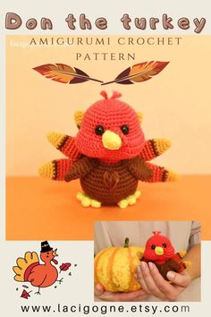 Thanksgiving Diy, Thanksgiving Decorations, Table Decorations, Crochet Toys, Crochet Patterns Amigurumi, Easy Crochet, Turkey Bird, Country Farmhouse Decor, Stuffed Animal Patterns