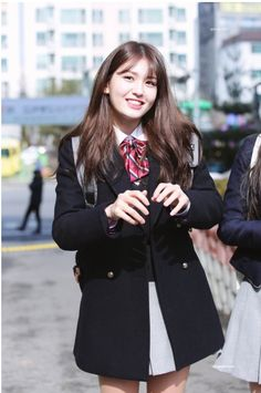 jeon somi, you might not my first but would u be my last? Jeon Somi, South Korean Girls, Korean Girl Groups, School Uniform Fashion, Pre Debut, Korean Celebrities, Wattpad, Purple Fashion, Ulzzang Girl