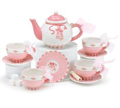 Handwash only FDA approved. Ballet shoes ceramic tea set with small raised floral designs. Set is hand painted. Comes in a storage gift box. Teapot is 4 1 X 1 1 2 Opening and holds 11 ounces. Tea Pot Set, Cup And Saucer Set, Childrens Tea Sets, China Teapot, Teapots And Cups, Tea Time, Tea Party, Tea Cups, Miniatures