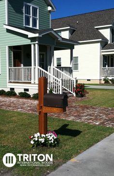 Reclaimed Bricks with a heavy timber mailbox.   Mailbox was created using Western Red Cedar.