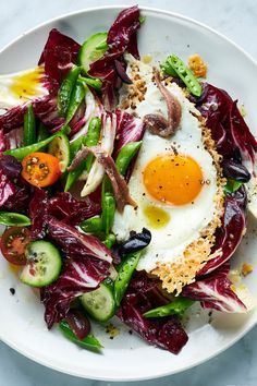 Crispy Parmesan Eggs With Radicchio and Pea Salad Recipe - NYT Cooking