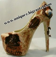"Our ""3D ZOMBIE"" heels are truly UNIQUE because they are hand made products that you won't see anywhere else. These heels have a 3D eyeball, 3D nose, teeth, exposed bone, and exposed veins. I also added fake blood, all over the shoes.  #platformpumps #highheels #rhinestoneheels #pumps #heels #rhinestones #TheWalkingDead #zombies #zombie #halloween Halloween Heels, Zombie Style, Bride Of Chucky, Fake Blood, Rhinestone Heels, Crazy Shoes, Platform Pumps, Beautiful Shoes, Cute Shoes"