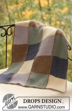 """DROPS blanket in garter st in 2 threads """"Alpaca"""". ~ DROPS Design"""
